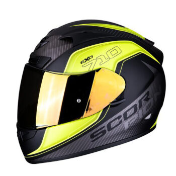 Casco Scorpion Exo 710 Air Murgello Negro Mate Con Amarillo